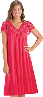 Silky Lace Trim V-Neckline Knee-Length Nightgown with Flutter Lace Sleeves