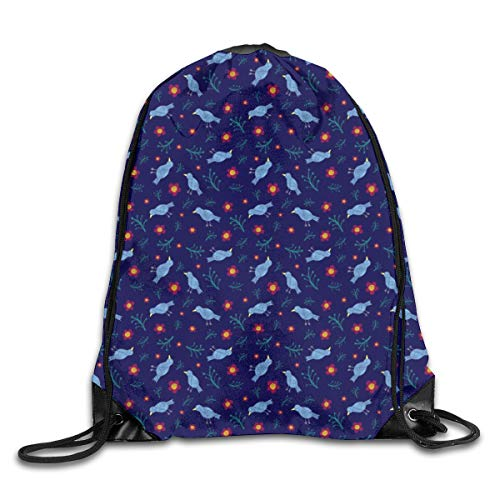 show best Birds Blooms in Blue Drawstring Gym Bag for Women and Men Polyester Gym Sack String Backpack for Sport Workout, School, Travel, Books 14.17 X 16.9 inch