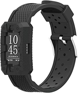 IMPAWFAN Silicone Watch Bands for Fitbit Charge 2, Adjustable Sport Replacement Wristbands with Air Holes, Waterproof Protective Case with Strap, Bracelet Band for Charge 2, Men and Women-Black