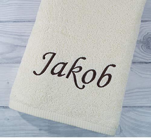 Handtuch mit Namen bestickt Duchtuch Geschenk Badetuch 500 g/m2 (Ecru, 70 x 140 cm)