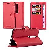 Cadorabo Coque pour Nokia 6.1 2018 en Rouge Cerise - Housse Protection avec Fermoire Magnétique,...