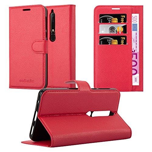 Cadorabo Hülle für Nokia 6.1 2018 - Hülle in Karmin ROT – Handyhülle mit Kartenfach & Standfunktion - Hülle Cover Schutzhülle Etui Tasche Book Klapp Style