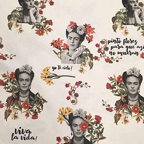 Tela por metros de loneta estampada digital - Half Panamá 100% algodón - Ancho 280 cm - Largo a elección de 70 en 70 cm | Frida Kahlo - Viva la vida