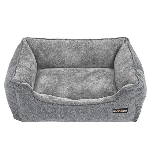 FEANDREA Hundebett, großes Hundesofa, Bezug abnehmbar und maschinenwaschbar, kuscheliger Hundekorb, grau PGW11GG