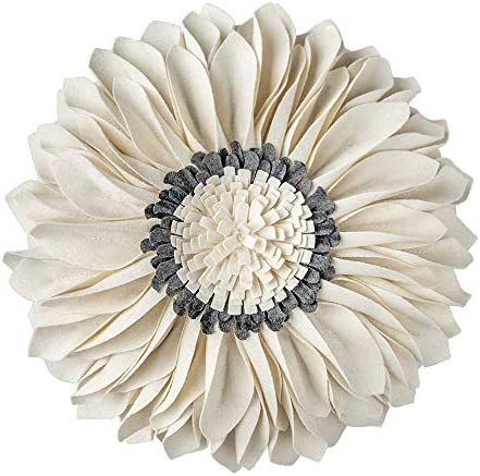 Best JWH Handmade 3D Flowers Accent Pillow Round Sunflower Cushion Decorative Pillowcase with Pillow Inse
