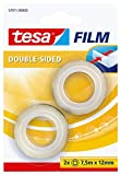 tesa Cinta adhesiva doble cara scotch tape 7,5 mx 12 mm, transparente