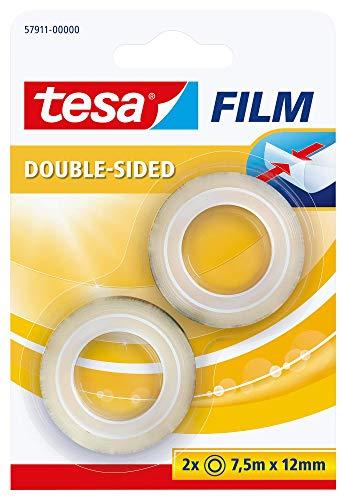 tesafilm doppelseitig im 2er Pack - Doppelseitiger Klebefilm für Fotos, Papier und leichte Kartonagen - transparent - 12 mm breit, 2 x 7,5 m