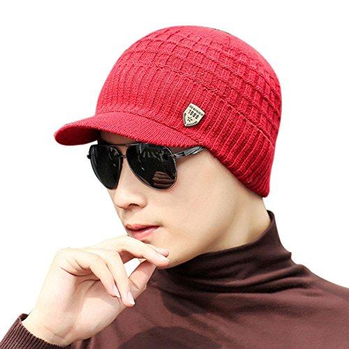 Sombrero de Punto de Lana de Invierno de Hombres Caliente Gorro de Gorro de esquí Gorros Navidad Buff