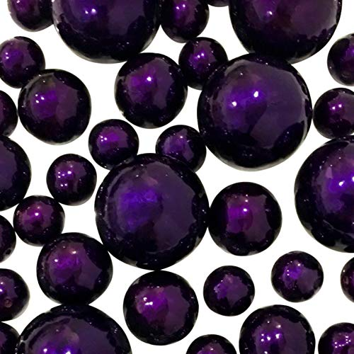 All Plum Pearls - Jumbo & Assorted Sizes Vase Fillers for Decorating Centerpieces - to Float The Pearls, Order The Transparent Water Gels