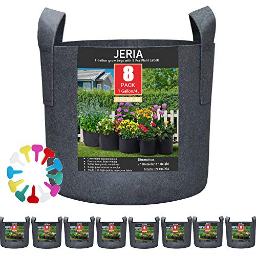 JERIA 8-Pack 1 Gallon Grow Bags, Aeration Fabric Pots with Handles, Heavy Duty Thickened Nonwoven Grow Pots with 8 Pcs Plant Labels