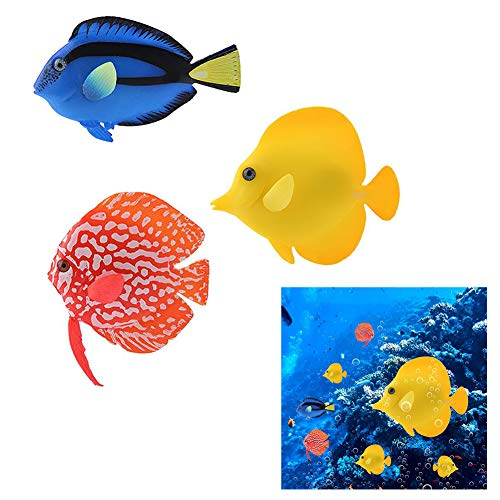 3PCS Artificial Fish Aquarium Silicone Floating Glowing Clownfish Set, Glowing Effect Decor Ornaments for Fish Tank, Underwater Saltwater Fake Colorful Fish for Fish Bowl Simulation Animal Decoration