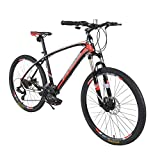 Mountain Bike Aluminum Frame 26' 24 Speed Outdoor Sports Road Bike with Lock-Out Suspension Fork Suitable for Men and Women Cycling Enthusiasts