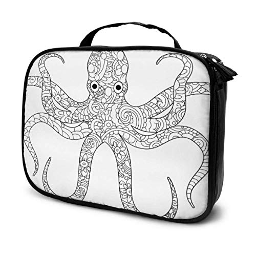 Octopus Sea Animal Coloring Book for Adults Raster Travel A Cosmetic Bag Big Makeup Bags for Women Man Cosmetic Bag Multifunction Printed Pouch for Women