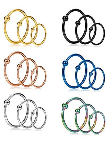Milacolato 18 Stücke 20G Edelstahl Nasenring Hoop Septum Ring Knorpel Helix Ohr Piercing 6mm 8mm 10mm
