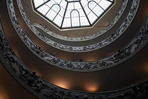 ING Wall Art Print on Canvas(32x21 inches)- Vatican Museum Helical Ramp Tourists Shape Texture