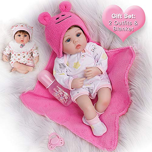 Yesteria Lifelike Reborn Baby Dolls 16 Inches 2 Outfits Silicone Vinyl Weighted Cotton Body Gift Set