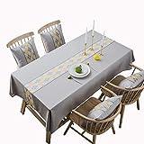 MCZ Rectangular Stitching Tablecloth Waschbare dekorative Tischdecke aus Baumwollleinen für den Tischschutz in der Küche (grau, Raute, 100x135 cm)