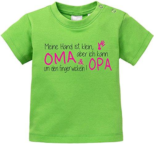 EZYshirt® Meine Hand ist klein Aber ich kann Oma & Opa um den Finger Wickeln Baby T-Shirt