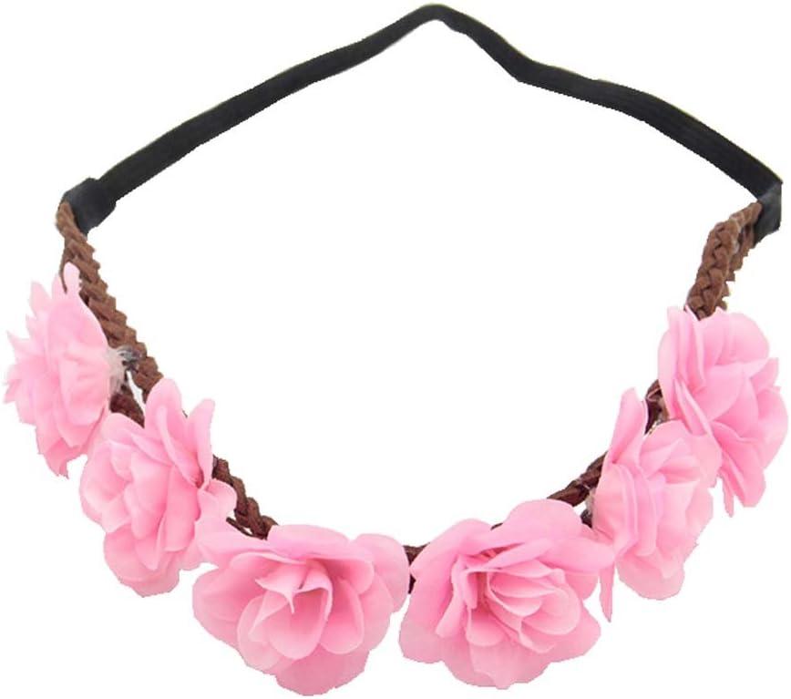 Kewl Fashion Women's Bohemian Beach Rose Flower Hoop Headband for Party (Pink)