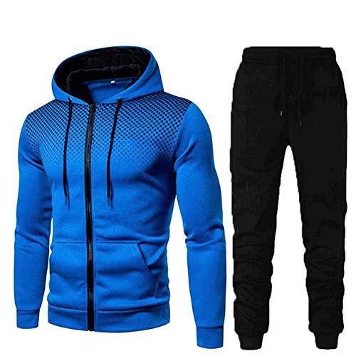 NAIHEN Herren Jogginganzug Sportanzug, Sporthose+Hoodie, Männer Trainingsanzug Sporthose Freizeitanzug Reißverschlussjacke mit Kapuze und Taschen Hoodie-Sporthose Jogging-Anzug Trainings-Anzug