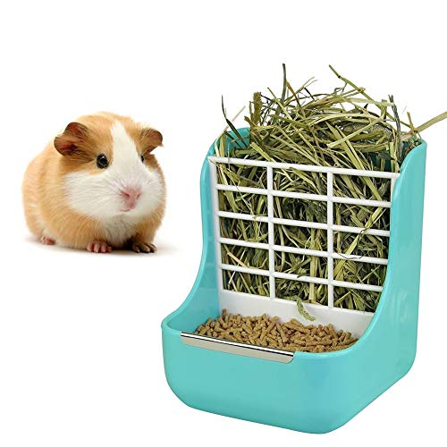 sxbest 2 in 1 Food Hay Feeder for Guinea Pig,Rabbit,Indoor Hay Feeder for Guinea Pig,Rabbit, Chinchilla,Feeder Bowls Use for Grass & Food Blue