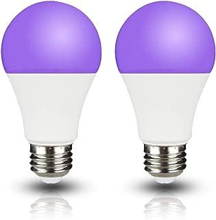 UV A19 7W LED Black Light Bulb, UVA Level 390-400nm,E26 Medium Base 100-240V, Glow in The Dark for Blacklight Party, Fluorescent Poster, Neon Glow(2 Pack)