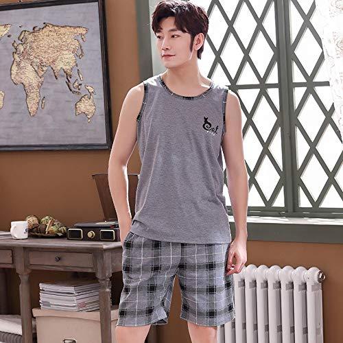 DFDLNL Pijama de algodón 100% para Hombre Conjunto de Pijama de Hombre sin Mangas con Chaleco Fino Pijama de Homewear Pijama De Hombre XXL