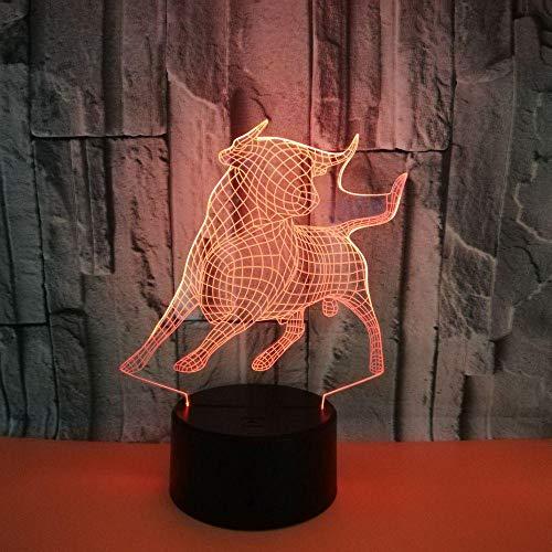 GEZHF 3D Ilusión óptica Lámpara 16 colores Animal vaca Lámpara de pared LED dormitorio sala de estar 3D Luz creativa Impresión de la luz LED Interruptor táctil Lámpara nocturna Decoración del hogar