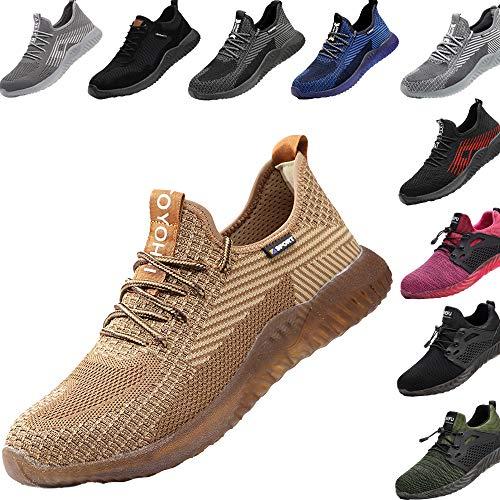 Zapatos de Seguridad para Hombre Transpirable Ligeras con Puntera de Acero Zapatillas de Seguridad Trabajo, Calzado de Industrial y Deportiva 43