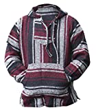 Mexican Baja Hoodie Hippie Surf Poncho Sweater Sweatshirt Pullover Jerga (Medium, Maroon/Black)