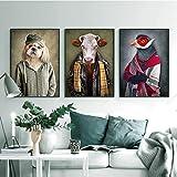 ganlanshu Pintura sin Marco Vintage Art Lion Tiger Elephant Head Animal Pintura al óleo Lienzo póster para la decoración de la Sala de Estar ZGQ3508 50X75cmx3