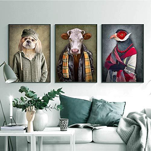KWzEQ Nordische Retro Gentleman Leinwand Malerei Wand Ziege Zebra Tier Poster und Druck,Rahmenlose Malerei,60X90cmx3