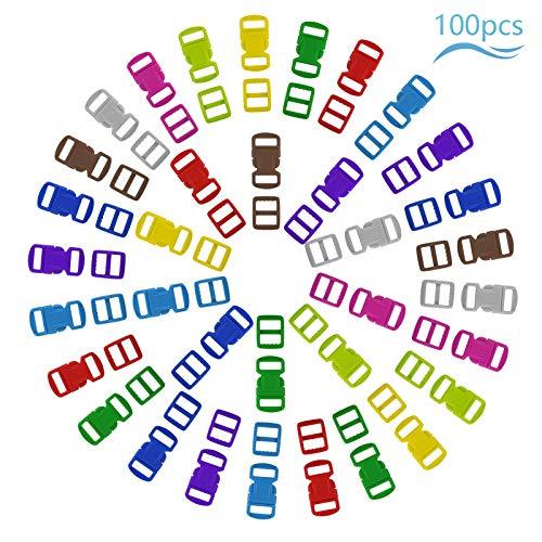 Matogle 50er Schnallen Kunststoff Kunststoffschnalle Schnallen Clips klick Verschluss mehrfarbige Mini Klippverschluss für Paracord Armbänder Zelt Rucksack Gurtband DIY Basteln in 10 Farben