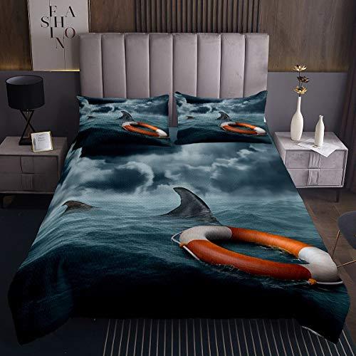 Ocean Marine Juego de con de tiburón Marino,de Salvavidas con de Naturaleza,Acolchada para niños y niñas,de habitación y Acolchada, Azul,King