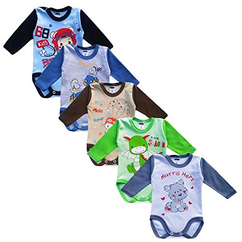 MEA BABY Unisex Baby Langarm Body aus 100% Baumwolle im 5er Pack, Baby Langarm Body mit Aufdruck, Baby Langarm Body für Mädchen, Baby Langarm Body für Jungen. (98, Jungen)