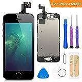 FLYLINKTECH Écran LCD Tactile de Remplacement pour iPhone 5S/Se Noir 4.0 Pouces,modèle Complet préassemblés (caméra...
