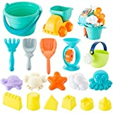 Beach Toys, Sand Toys Set Including Sand Water Wheel, Bucket, Shovels, Sifter, Molds, Rakes and Shovels, Outdoor Beach Sand Toys for Boys, Girls, Toddlers, Kids Summer Outdoor Beach Fun