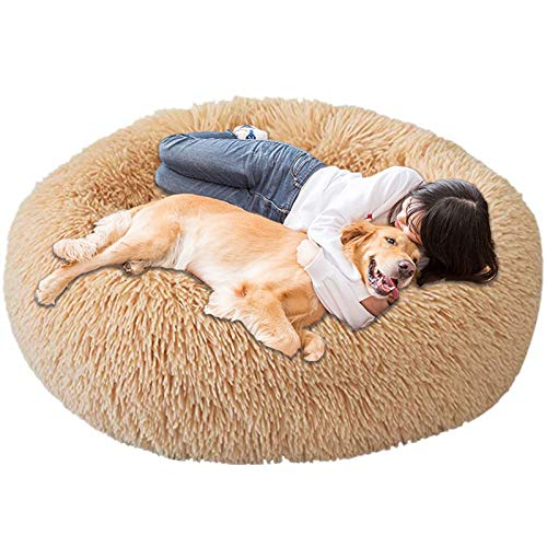 Jumbo Extra Large xxxl Dog Bed Orthopedic Donut Calming Anti Anxiety Cushion Fluffy Plush Sofa Wicker Heated Cave XXL Sleep Basket xl Washable Medium khaki