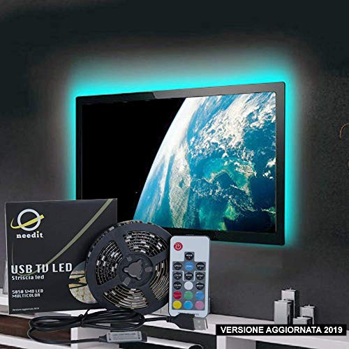 Striscia LED RGB NeedIT, Retroilluminazione LED TV 2m Alimentata USB, Nastro Led Impermeabile Per HDTV e PC 40-60 Pollici, Strisce LED Multicolore Con Telecomando 17 Tasti