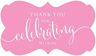 Andaz Press Fancy Frame Rectangular Label Stickers, Thank You for Celebrating with Us, Pink, 36-Pack
