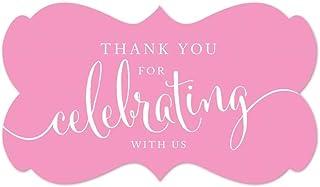 ملصقات ملصقات ملصقات ملصقات بعلامة مستطيلة الشكل بتصميم عبارة Thank You for Celebrating with Us من Andaz Press، باللون الو...