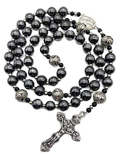Nazareth Store Rosario de hematita con cuentas de piedra negra, collar de metal con medalla milagrosa y rosario de cruz para hombres y mujeres NS