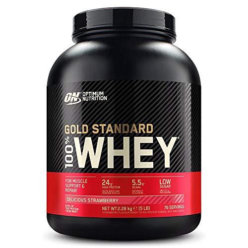 Optimum Nutrition ON Gold Standard 100% Whey Proteína en Polvo, Glutamina y Aminoácidos Naturales, BCAA, Fresa Deliciosa, 76 Porciones, 2.28kg, Embalaje Puede Variar