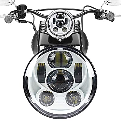"Akmties Motorcycle Headlight 5.75 Inch 5 3/4"" Round LED Projection Headlight Compatible for Motorcycle Street Bob Sportster Wide Glide Low Rider Headlamp from Akmties"