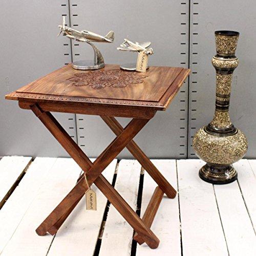 maravi handgefertigt quadratisch Klapptisch Top Sheesham Holz geschnitzt