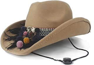 SAIPULIN-AU Fedora Hat Wide Brim Hat Outdoor Casual Hat Men Women Wool Western Cowboy Hat Size 56-58CM (Color : Khaki, Size : 56-58)