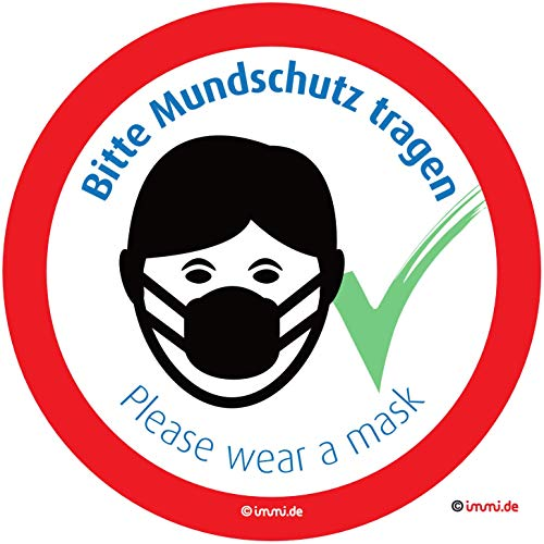 immi 4 St. Aufkleber Maske tragen - Pls. wear a mask Ø 98mm