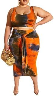 Mogogo Womens Plus Size Tie Dye Print Tank Crop Top Bodycon Skirts Outfits