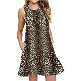 Chickwin Vestido Corto Mujer Verano, Moda Estampado de Leopardo impresión Casual de Camiseta Suelto ...
