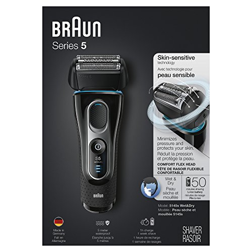 Braun Series 5 5145s Men's Electric Foil Shaver, Wet & Dry, Integrated Precision Trimmer, Rechargeable and Cordless Razor, with Travel Case - Black